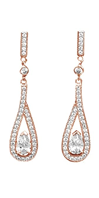 7bd33576804b28 Amazon.com: Micro Pave Dangle Earrings In 14k Rose Gold Over Sterling  Silver: Jewelry