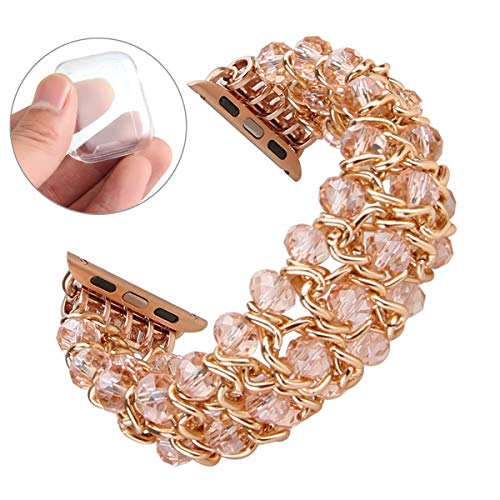 GEMEK Compatible with Apple Watch Band 38mm 40mm Pink iWatch Bands Series 4  3 2 1, Handmade Elastic Crystal Beaded Metal Bracelet Chain Replacement