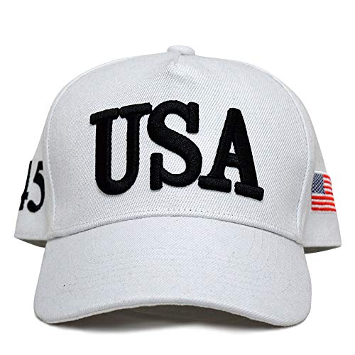 Besti Make America Great Again Donald Trump Slogan with USA Flag Cap Adjustable Baseball Hat (White USA 45)