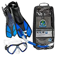 HEAD Italian Collection Sailor Splash Quest Superior Mask Fin Snorkel Set with Snorkeling Gear Bag, Blue - L/XL