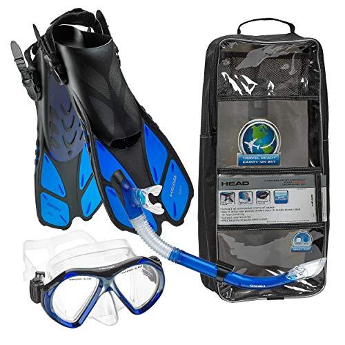 Snorkel Collection - HEAD Italian Collection Sailor Splash Quest Superior Mask Fin Snorkel Set with Snorkeling Gear Bag, Blue - L/XL