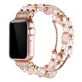 Simpeak Band for Apple Watch 3, Replacement Fashionable Beaded Elastic Bracelet Band Strap for 38mm Apple Watch Series 3, Series 2, Series 1 - Pink for Women Girl