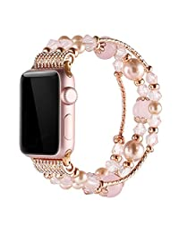 Simpeak Apple Watch Band 38mm 42mm, Replacement Fashionable Beaded Elastic Bracelet Pearl Strap for Apple Watch Series 3, Series 2, Series 1