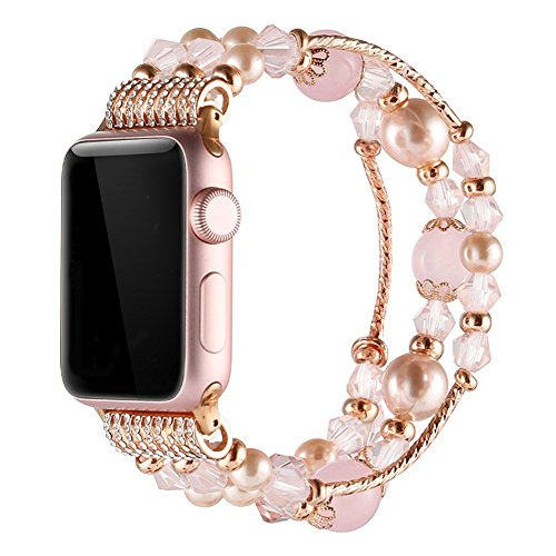 Simpeak Replacement for Apple Watch Band, Women Girl Fashion Beaded Elastic Bracelet Band Strap Compatible with 38mm 40mm iWatch Series 4, Series 3, Series 2, Series 1, 38mm-40mm/Rose Pink