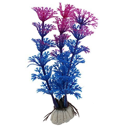 DealMux Plastic Fish Tank Artificial Underwater Emulational Grass Aquarium Plant Decor Blue Purple ()