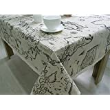 BYCE Cotton Linen World Map Tablecloth, Lace Table Cloth Decorative Elegant Table Cover,Several Size,100x140cm(39x55 inch)