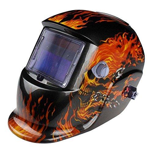 Solar Powered Auto Darkening Welders Welding Helmet Mask Head Shield Fire & Skull Pattern