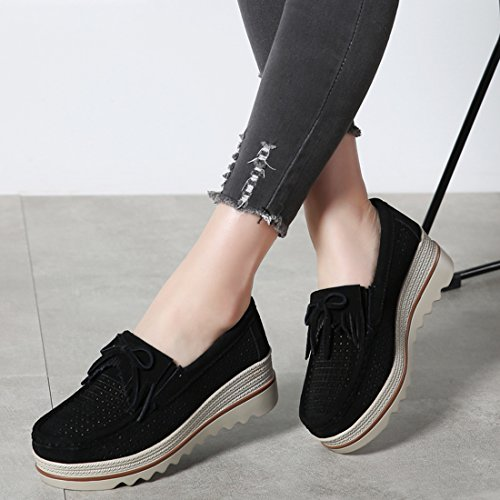 Wildleder Keil Z SUO Schuhe Slipper Damen Komfortable Black Wedge Dicker Low 3 Top Wide Absatz Mokassins HXqHw4t