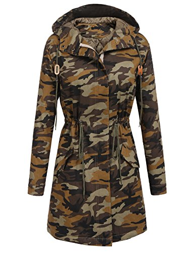 Elesol Women's Faux Fur Hooded Long Winter Coat Outwear With Quilted Lined Camo/XXL