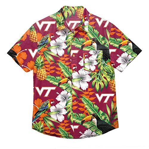 - NCAA Virginia Tech Hokies Foco Floral Button Up Shirt, Team Color, Large