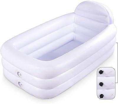 Amazon.com: Bañera portátil inflable, color blanco, duradera ...