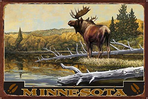 Minnesota Moose Rustic Metal Art Print by Paul A. Lanquist (24