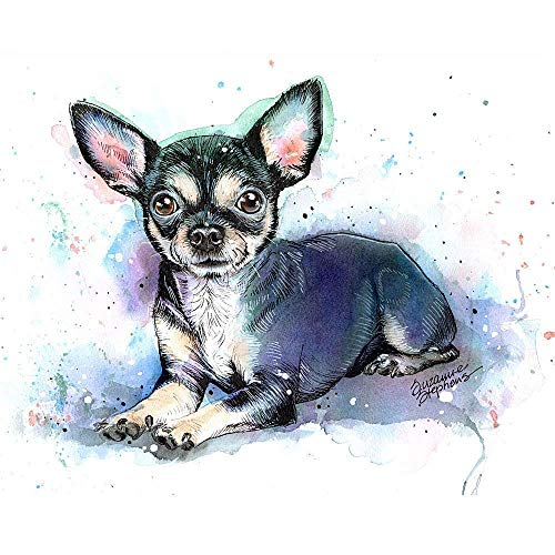 Black Chihuahua Watercolor Art Print of Original Painting, Pet Themed Party Nursery Home Wall Decor, Dog Mom, Dad, Parent; Rainbow Bridge Pet Loss Sympathy Bereavement Housewarming Gift