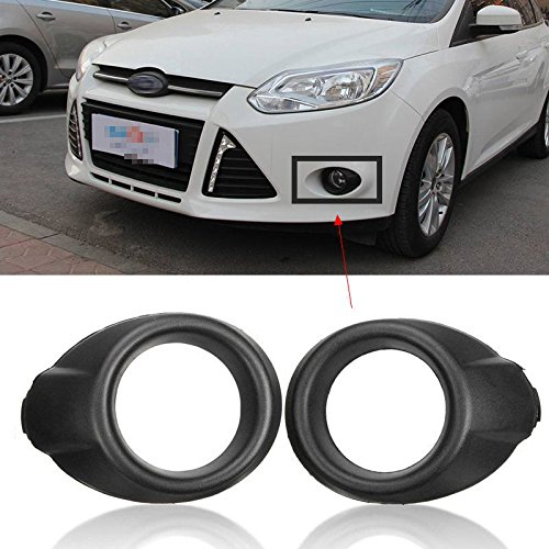 YUK 2 For Black Front Fog Light Lamp Cover Bezels Trim For Ford Focus 2012-2014
