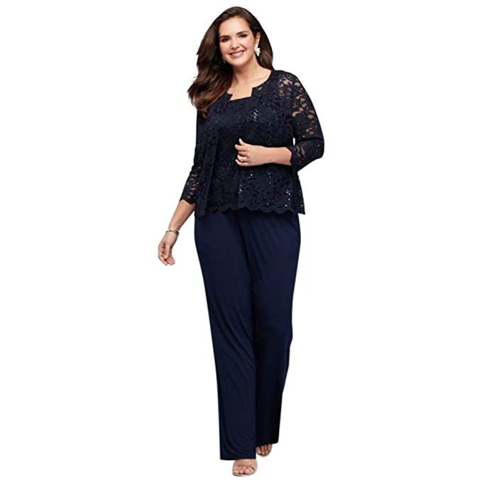 Lace Tank and Jacket Petite Plus Size Pantsuit Style 850176