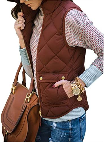 17baa1b4df3a9 Yi Xian Women s Stand Collar Warm Padded Zip Closure Side Pockets Gilet  Quilted Puffer Vest