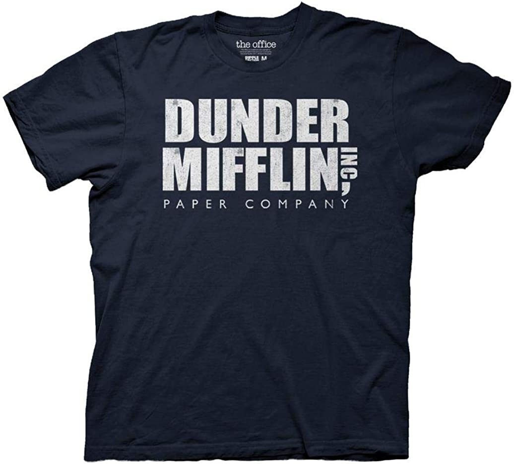 Ripple Junction The Office Adult Unisex Dunder Mifflin Vintage Heavy Weight 100% Cotton Crew T-Shirt MD Navy