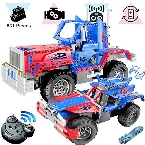 KareFLASH 2-in-1 RC Truck-Buggy | 531 Building Blocks Compatible with Lego | Electric Engine with Charger | STEAM Toy