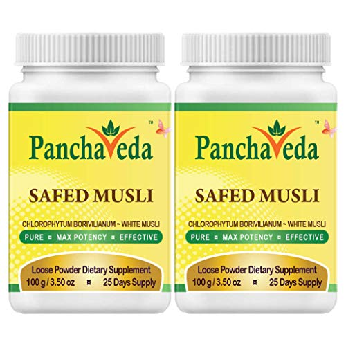 - Panchaveda Safed Musli Powder (2 Pack) Ayurveda Wild Crafted Pure Herb Natural Aphrodisiac Supplement Chlorophytum borivilianum White Musli For Vigor Vitality Stamina Strength & Libido Booster Support