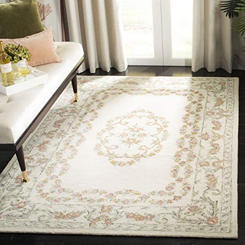Safavieh AUB102A-9 Aubusson Collection AUB102A Ivory and Pink 9' x 12' Area Rug
