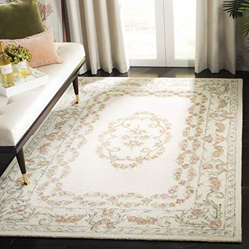 (Safavieh AUB102A-9 Aubusson Collection AUB102A Ivory and Pink (9' x 12') Area Rug,)