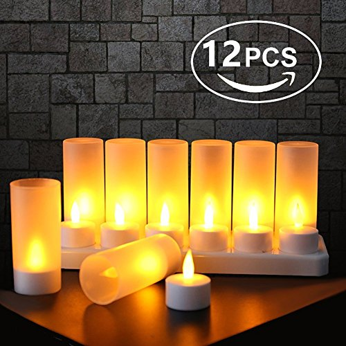 - Flameless Candles with Rechargeable Base Led Candles Flickering LED Tea Lights Unscented Tealight Warm White Plastic Realistic Candle Party Decoration Upgraded Tea Candle Set of 12 NO NEED BATTERY