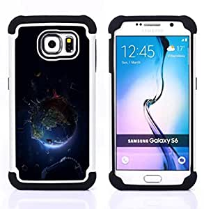 BullDog Case - FOR/Samsung Galaxy S6 G9200 / - / Planet Earth Space /- H??brido Heavy Duty caja del tel??fono protector din??mico - silicona suave