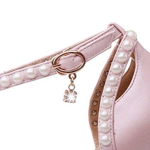 Amoonyfashion Womens Peep Toe Picchi Stilettos Sandali Morbidi Fibbia In Materiale Solido Rosa