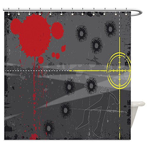 Vanfan Shower Curtains a grunge styled illustration on a crime based theme a body outline and gun sight set on a grunge 43116553 For (Halloween Costumes Based On Words)