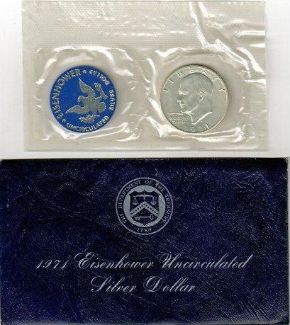- 1971-S EISENHOWER SILVER BU DOLLAR - BLUE PACK w/COA