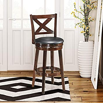 COSTWAY Dining Chairs, Modern Vintage Accent Wooden Swivel Back Bar Counter Height Dining Room Chair, Fabric Upholstered 360 Degree Swivel, Perfect for Dining and Living Room Height 29