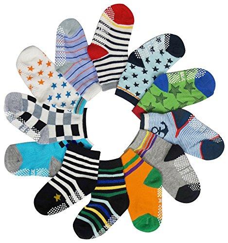 12 Pairs Kids Toddlers Sports Assorted Designs Ankle Socks Non-Skid Crew Socks (Lightweight Sport Sole Socks)