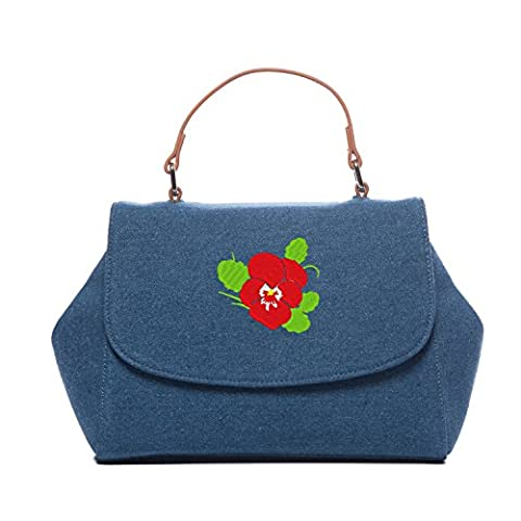 Purse Crossbody Bag Solid Cross Body Messenger Bags Pansy Embroidered Shoulder Bags - Pansy Messenger