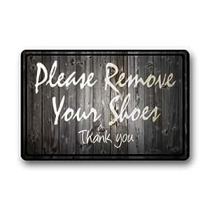 "Funny Quotes ""Please remove your shoes"" limpieza Felpudo puerta Mat"