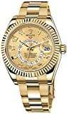 Rolex Sky Dweller Champagne Dial GMT 18kt Yellow Gold Mens Watch...