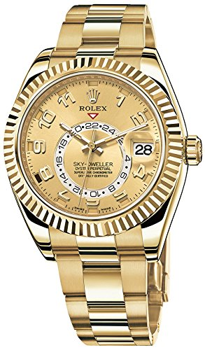 Rolex Sky Dweller Champagne Dial GMT 18kt Yellow Gold Mens Watch 326938CAO ()