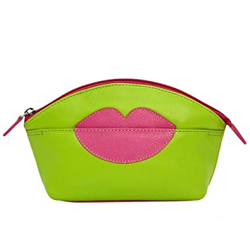 bb2090910f64 Amazon.com   ili New York Hot Lips Leather Cosmetic Makeup Case (Leaf Hot  Pink)   Beauty