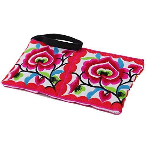 Sabai Jai Small Clutch Purse Ethnic Handbag for Women - Embroidered Bohemian Flower Wristlet for Girls - Handmade Bag,Medium,Pink ()
