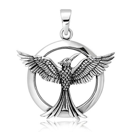 WithLoveSilver Sterling Silver 925 Celtic Phoenix Firebird Bird of Paradise Pendant ()