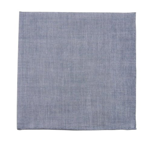 100% Cotton Classic Chambray Warm Blue Pocket Square by TheTieBar