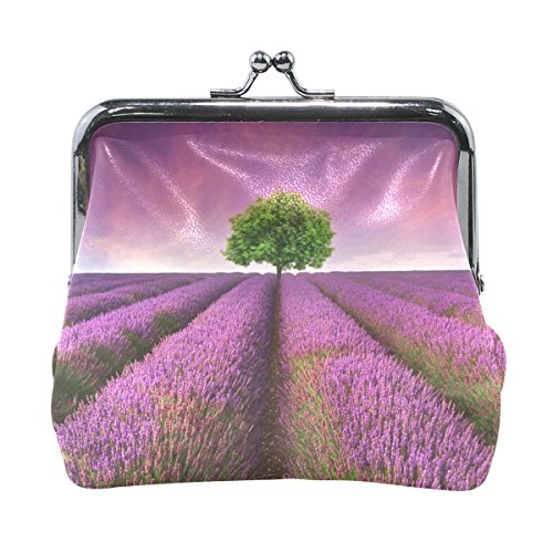 Ethel Ernest Lavender Field With Single Tree Sunset Landscape Coin Wallets Mini Purse for Womens Girls