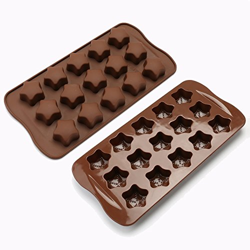 (Silicone Chocolate Molds, Candy Molds, Soap Molds, Baking Molds, Set of 2 Stars Mini Wax Molds)