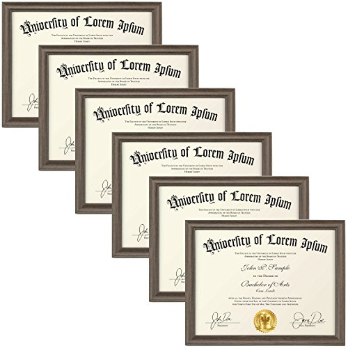 Icona Bay 8.5x11 Diploma Frame (6 Pack, Hickory Brown), Certificate Frame, Document Frame, Composite Wood Frame for Walls or Tables, Set of 6 Lakeland Collection
