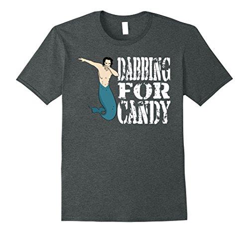Merman Halloween Costume (Mens Funny Dabbing Merman Halloween Costume Shirt Dab For Candy 2XL Dark Heather)