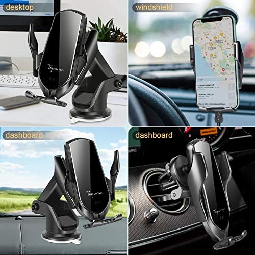 Car Wireless Charger, Topume 15W Qi Car Charger, Auto-Clamping Wireless Car Charger Windshield Dash Air Vent Car Mount Compatible with iPhone 12/12Pro/11/Xs Samsung S10/Note 10