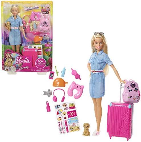 Barbie FWV25 - Reise Puppe mit blonden Haaren inkl. Reisezubehör und Hündchen, Puppen Spielzeug und Puppenzubehör ab 3 Jahren