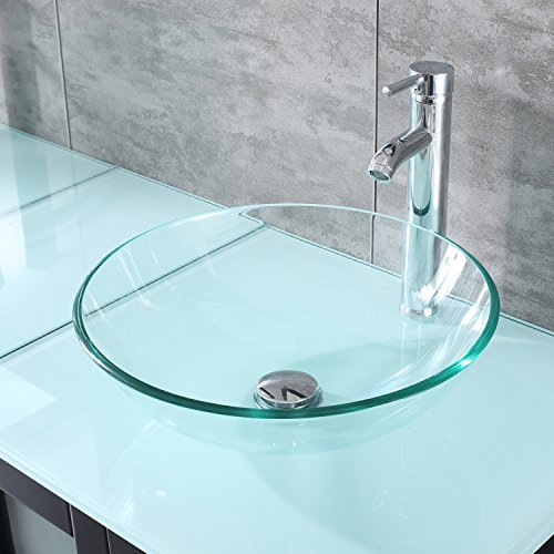 Round Sink Drain Set (Walcut Transparent Glass Vessel Sink With Faucet And Pop Up Drain Set (Round Sink With Chrome Faucet))