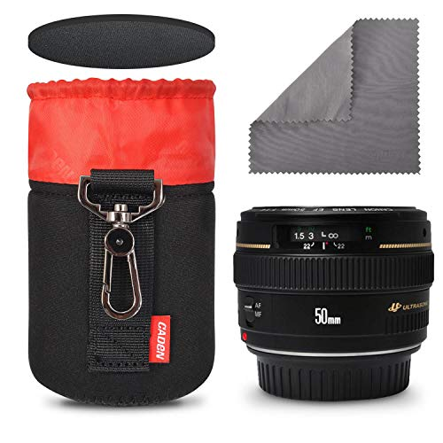 CADeN Camera Lens Bag Metal Hook of 7.5MM Thick Neoprene Soft Plush Lens Case 4th Generation Lens Bag(S)