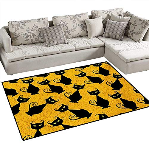 Vintage Door Mats for Inside Black Cat Pattern for Halloween on Orange Background Celebration Graphic Patterns Bath Mat for Bathroom Mat 40