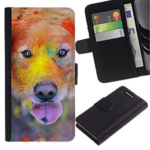 Rainbow Holi Paint Golden Retriever Dog - la tarjeta de Crédito Slots PU Funda de cuero Monedero caso cubierta de piel Sony Xperia Z1 Compact D5503